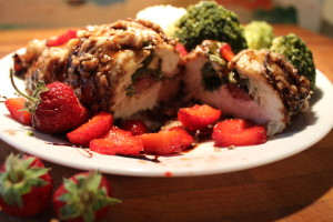 Pecan Encrusted Chicken Stuffed with Strawberries, Goat Cheese & Spinach
